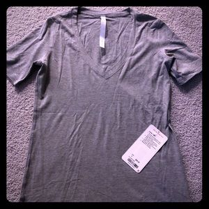 "NWT Lululemon grey v-neck ""Love"" tee, size 4"